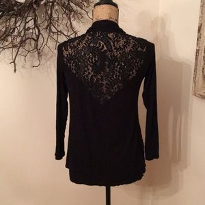 Black Lace Open Back Cardigan
